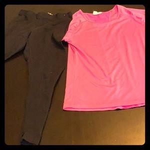 Girls Pink running shirt with black leggings